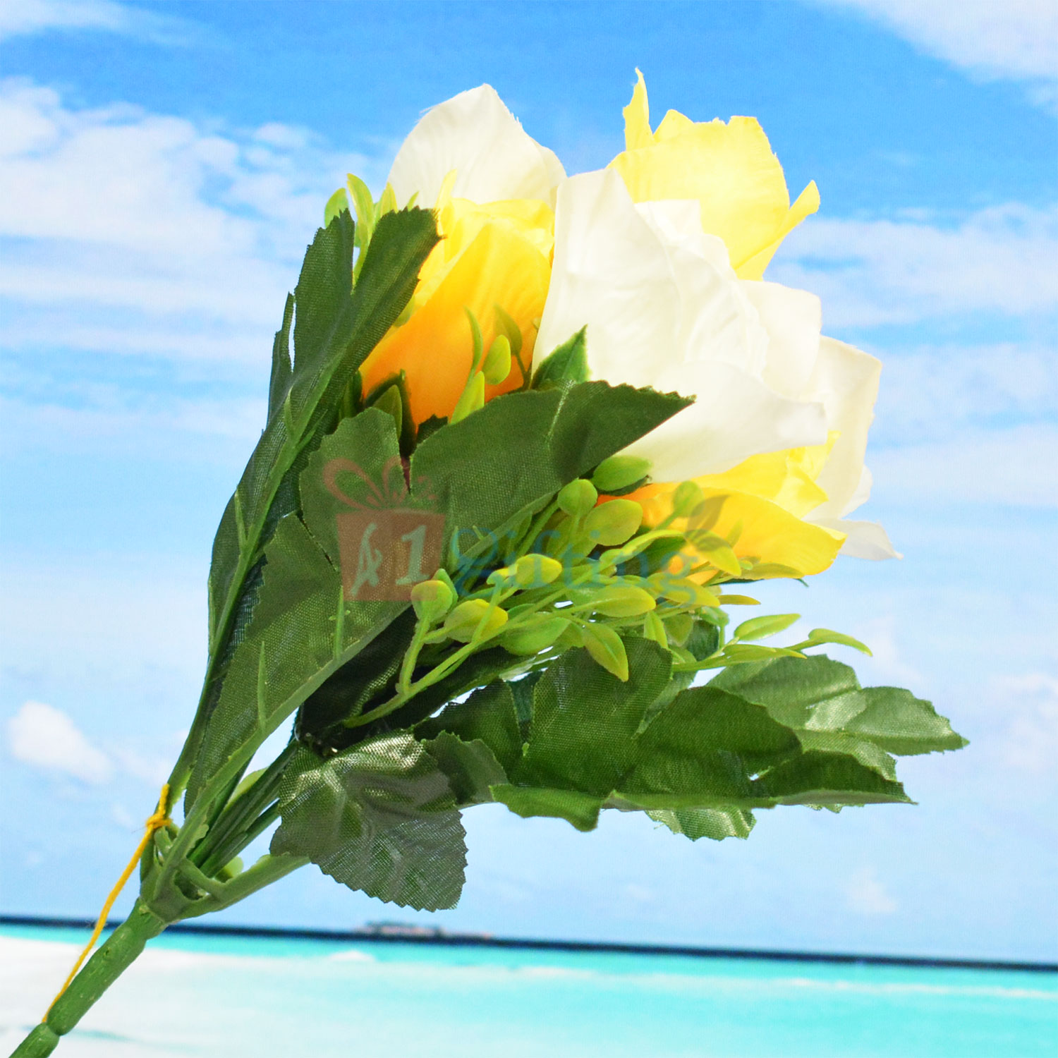 Wonderful Yellow and White Artificial Flower Plant