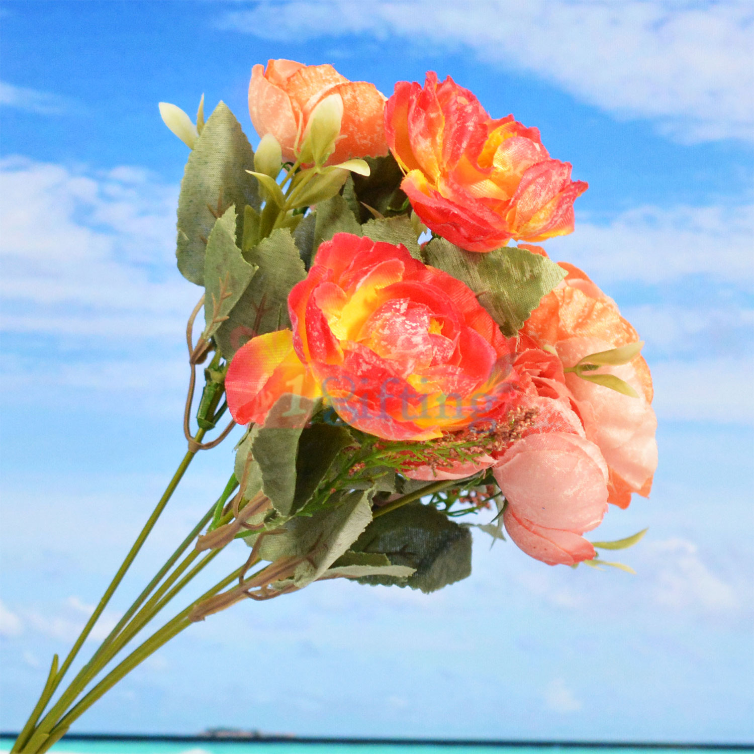 Awesome Red Orange Artificial Flower Plant