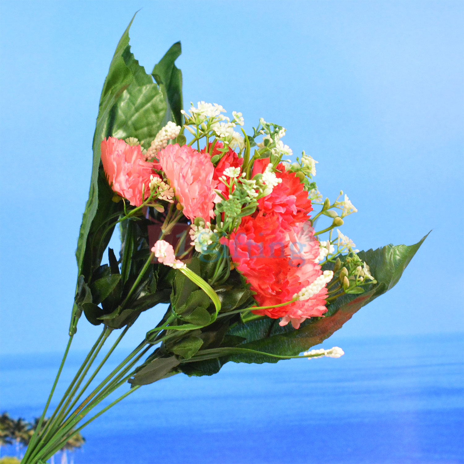 Decorative Red Flower and White Bud Artificial Plant
