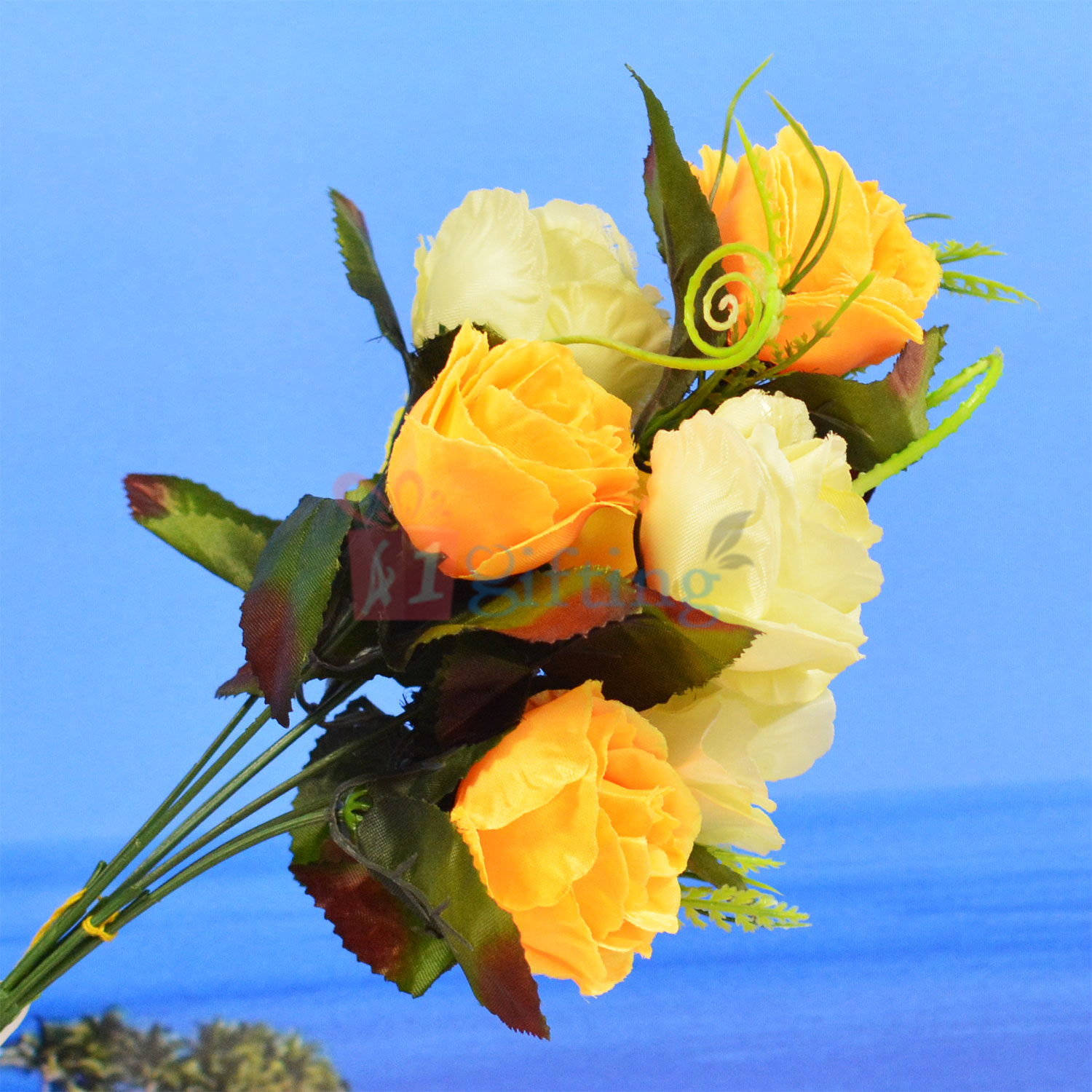 White and Yellow Rose Flower Bouquet Decorative Plant