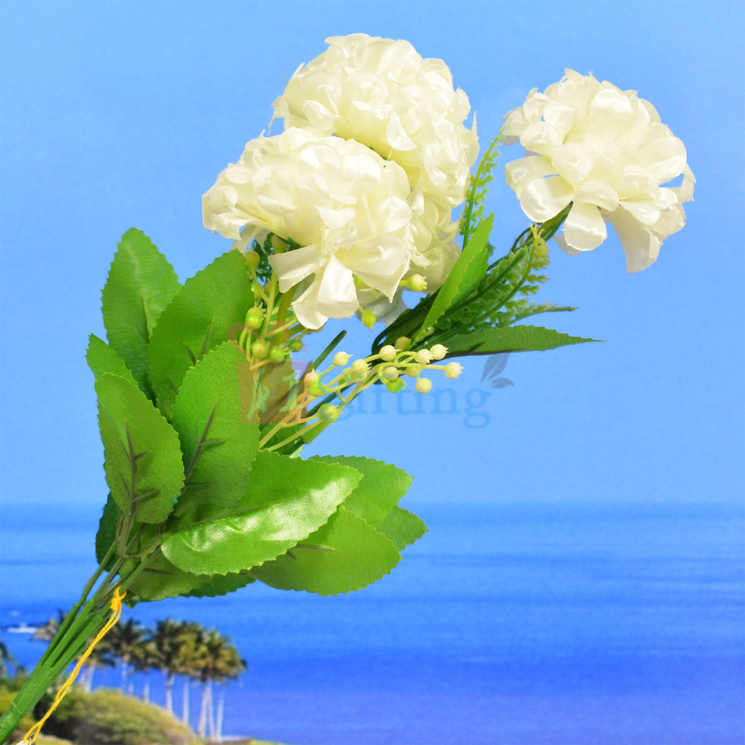 White Flower with Buds Decorative Artificial Plant for Pot