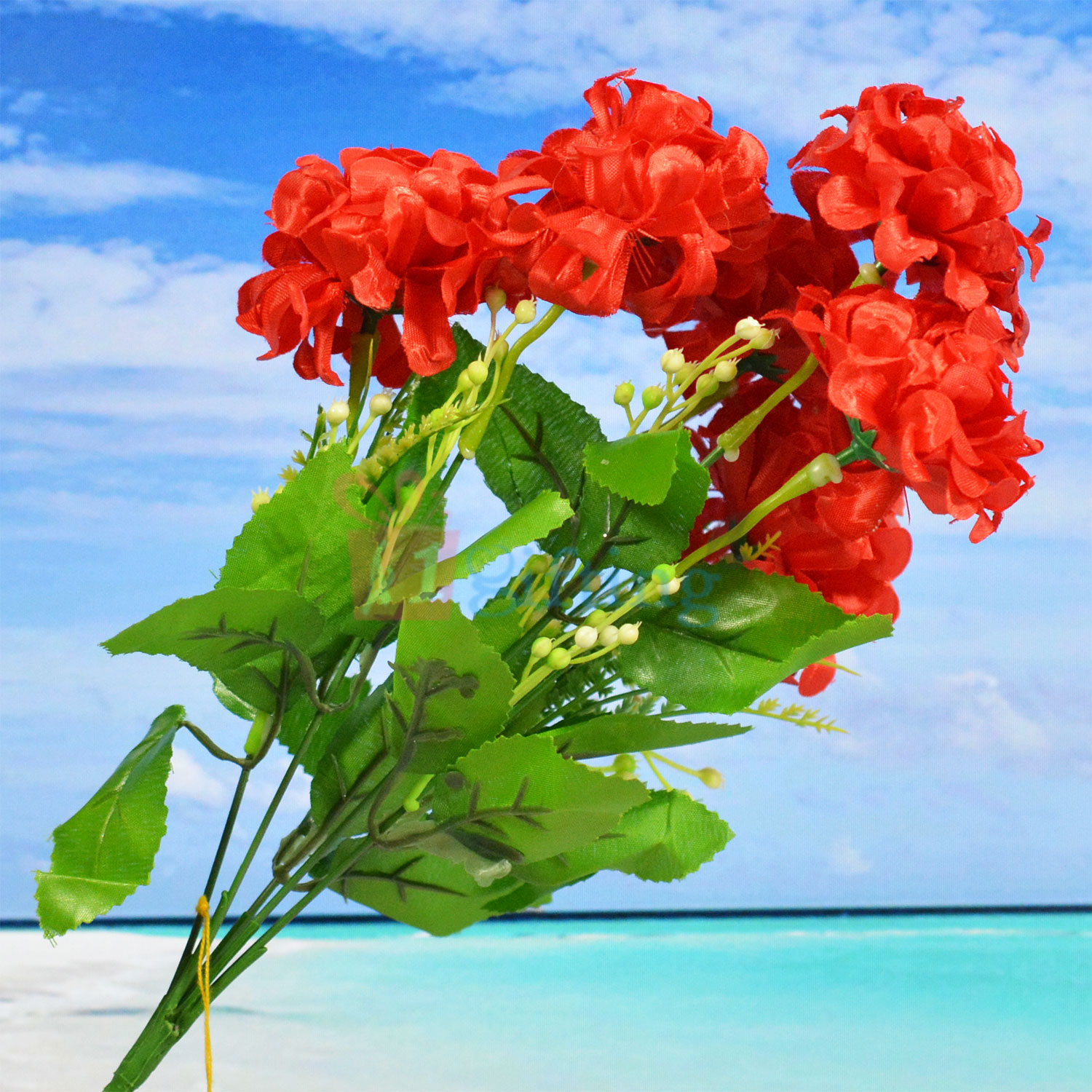Amazing Buds with Red Flower Decorative Artificial Plant