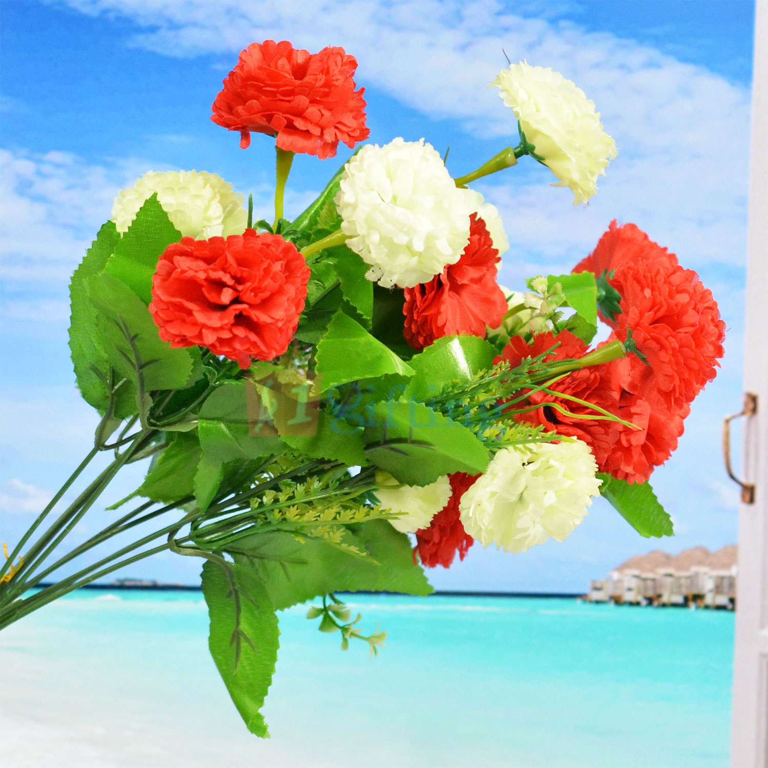 Beautiful Combination Red and White Flower Artificial Plant