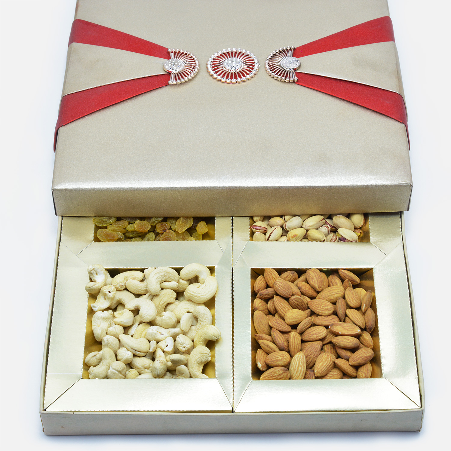 Exclusive Deisgned Red Ribbon Dry fruit box of 4 Type of Nuts