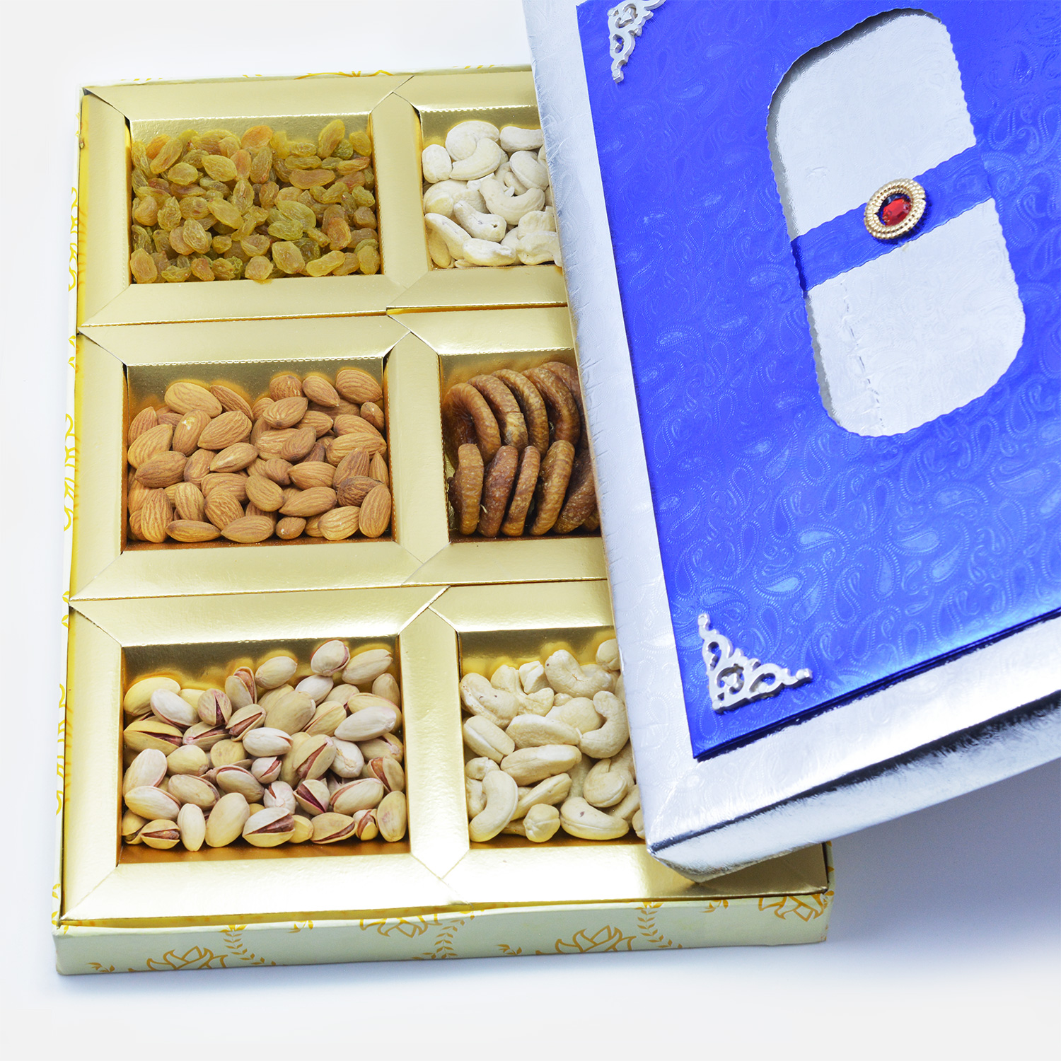 Best base of blue box of 6 type of nuts dry fruit box