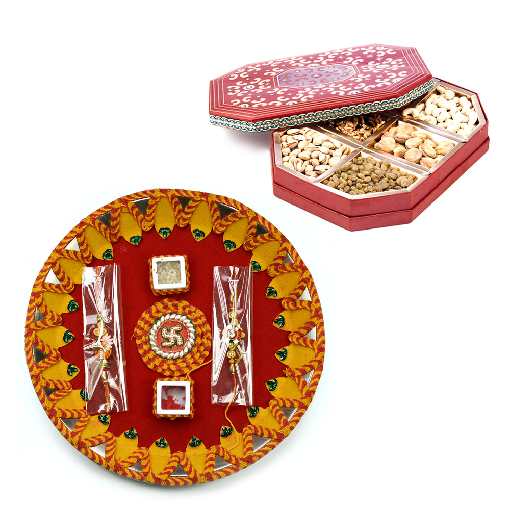 Swastik Moli Rakhi Pooja Thali with Dry fruits Pack