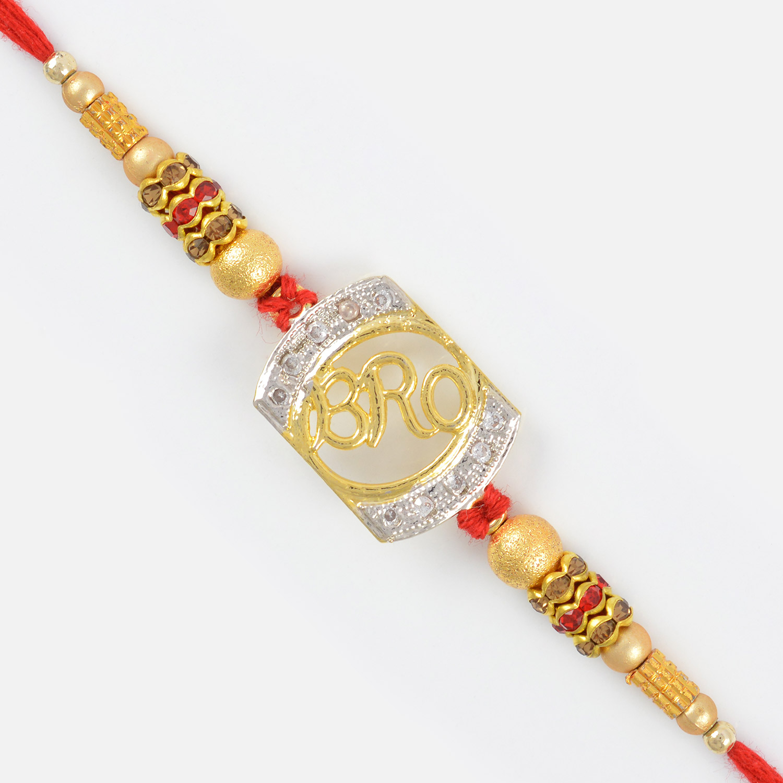 Newly Design Bro Rakhi with Pearl and Metalic Diamond