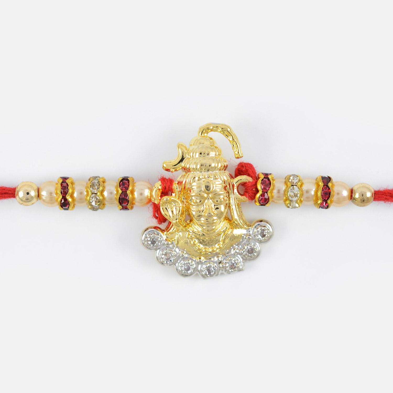 Golden Lord Shiva Rakhi with 7 Diamonds
