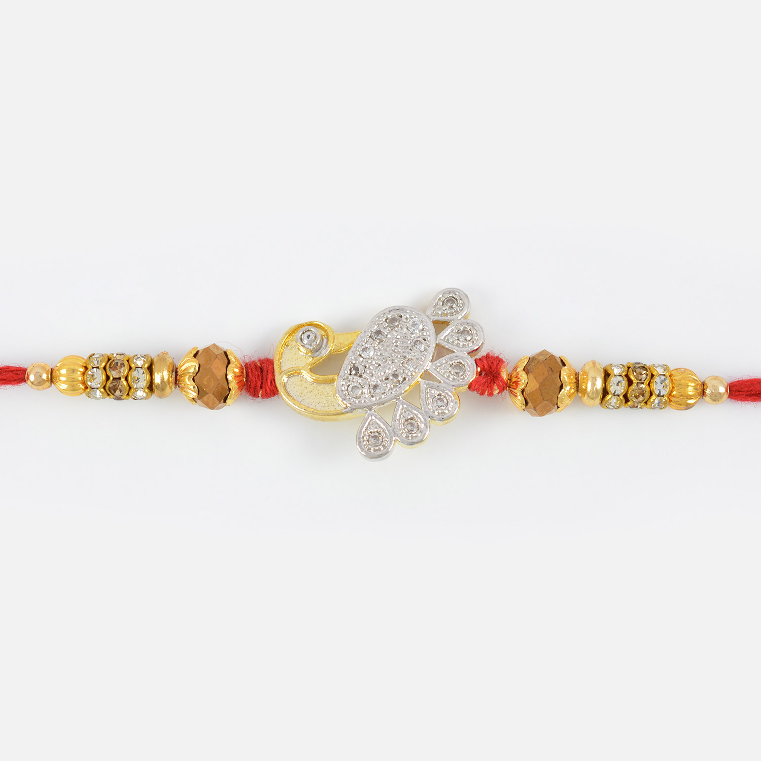 Silver and Golden Designer Peacock Rakhi with Shining Beads