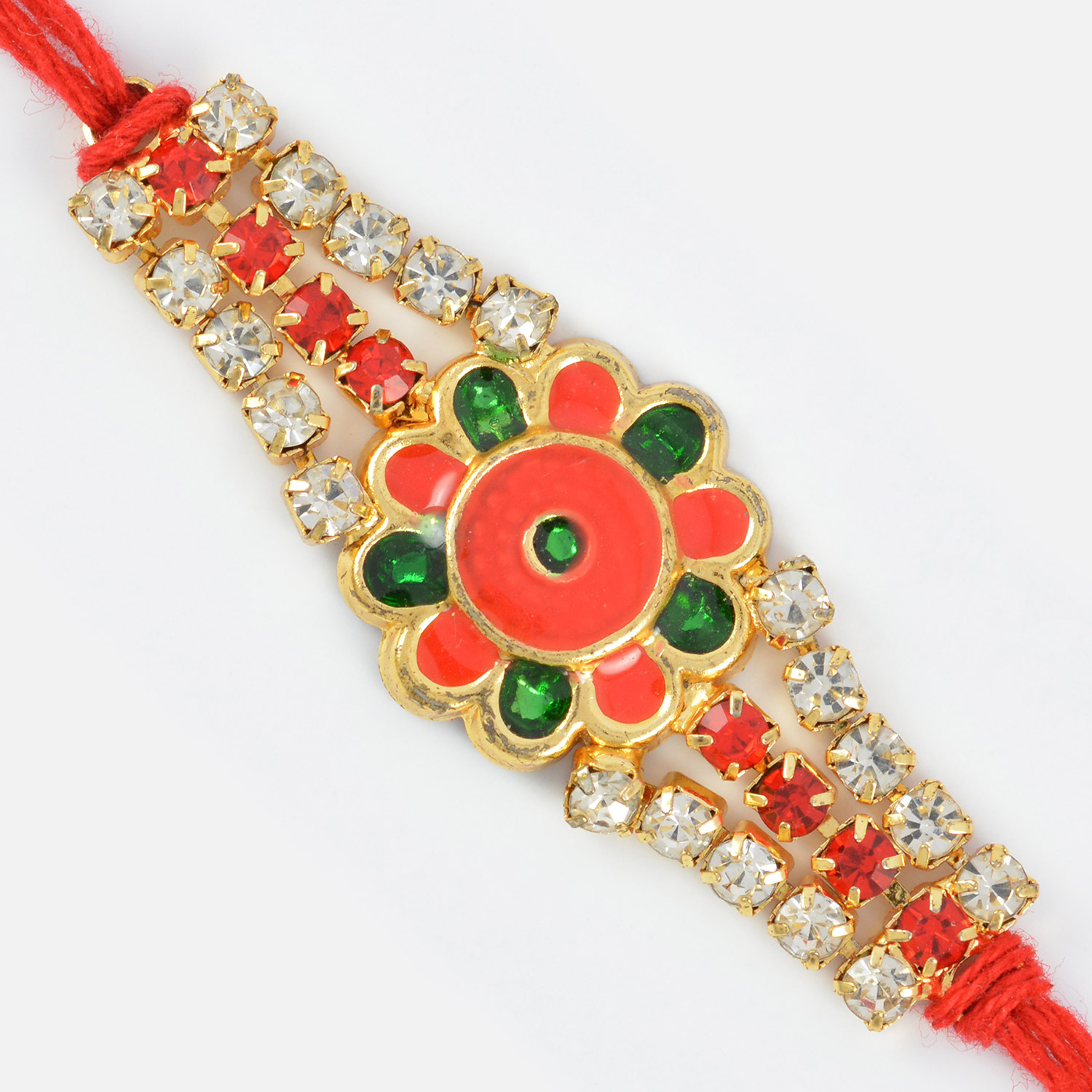 Amazing Red Base Floral Rakhi with Red and Shining Diamonds