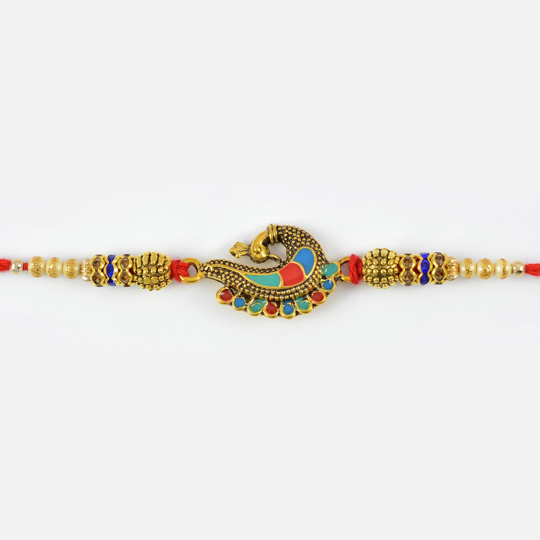 Meenakari Work Peacock with Golden and Metallic Beads