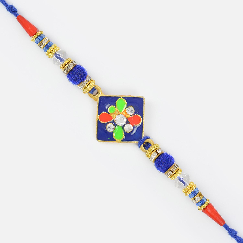 Colorful Meena Work Traditional Metallic Designer Rakhi