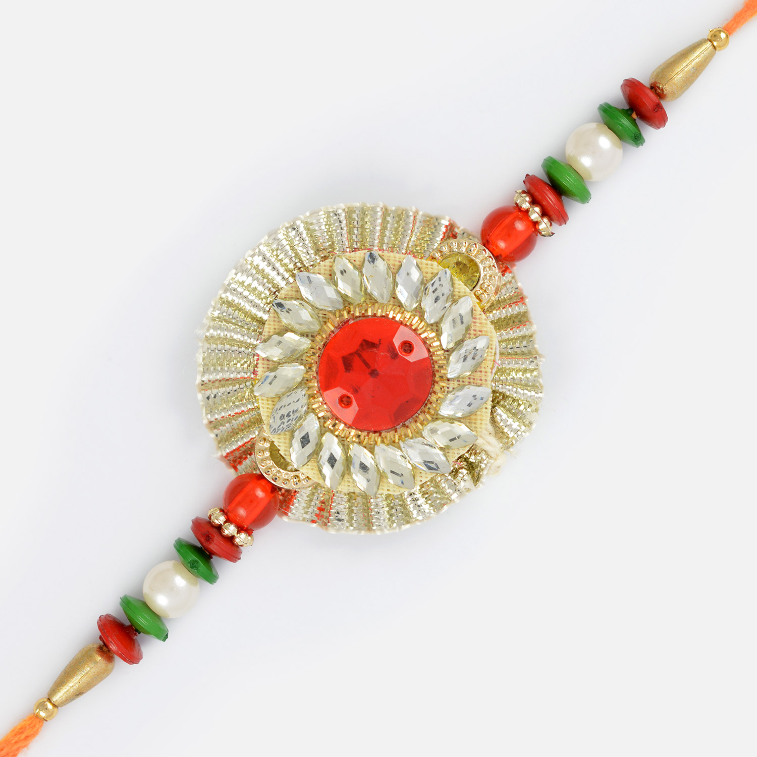 Beautiful Crystal Marquise with Center Ruby and Designed with Gems Rakhi