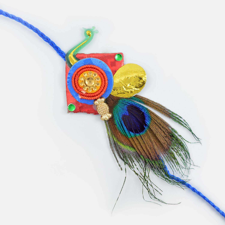 Peacock Feather Traditional Designer Rakhi