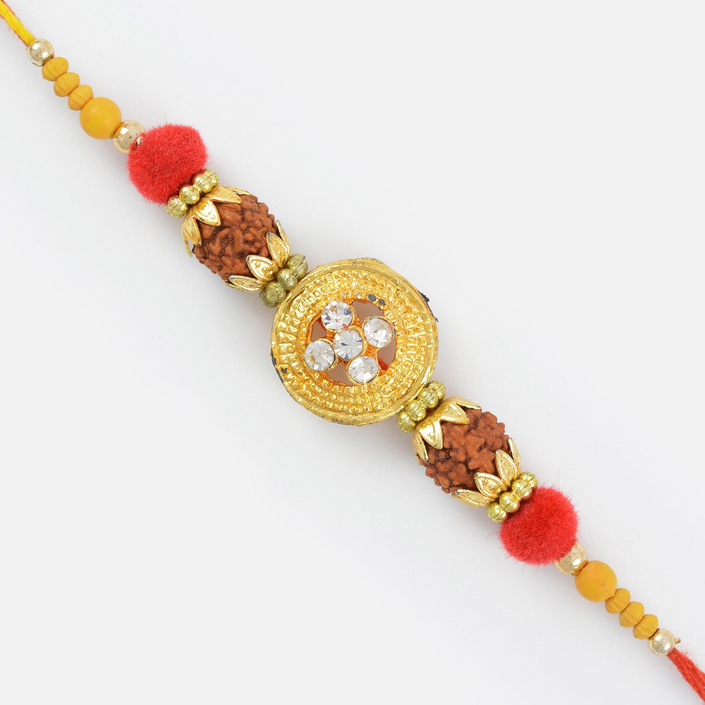 Golden Ring Diamond Square Rudraksha Special Beaded Rakhi