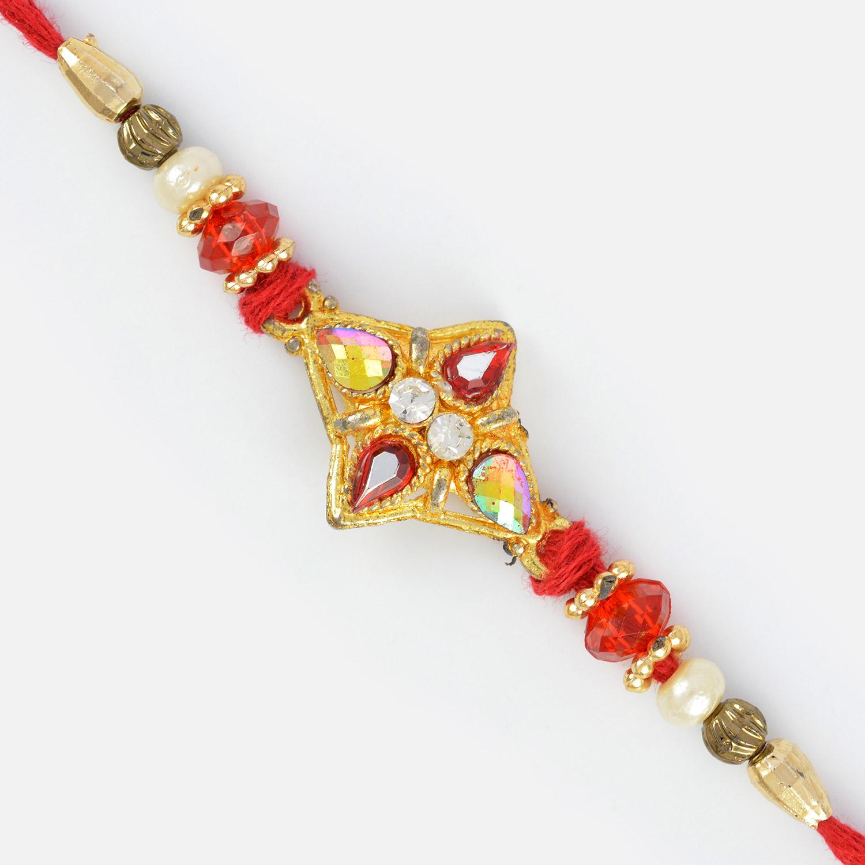 Sprinkle Jewel Work Beaded Moli Rakhi for Brother