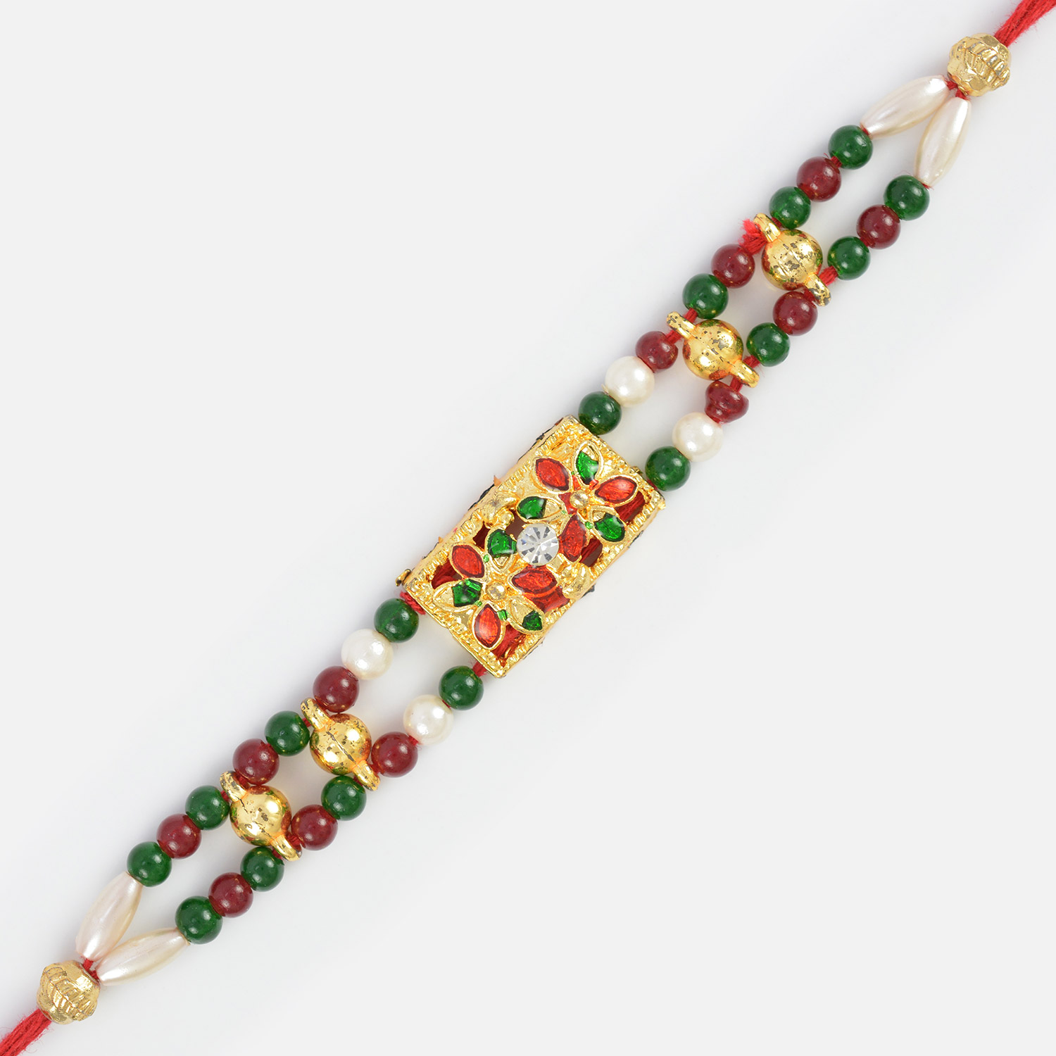 Unique Creation- Fancy Rakhi with Maroon and Pearl Beads