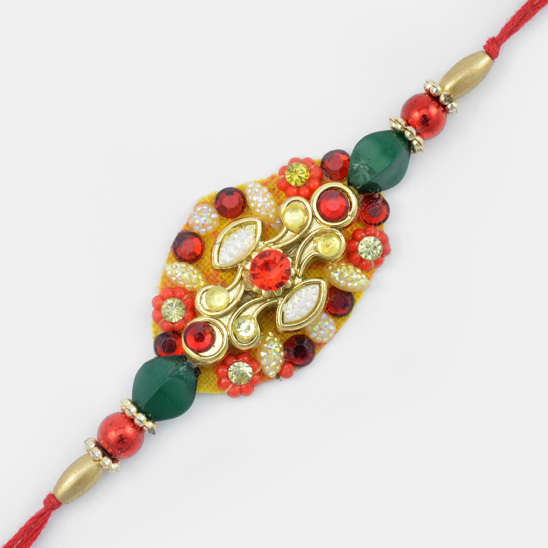 Fabulous Glass Bead Diamonds and Golden Designer Fancy Rakhi