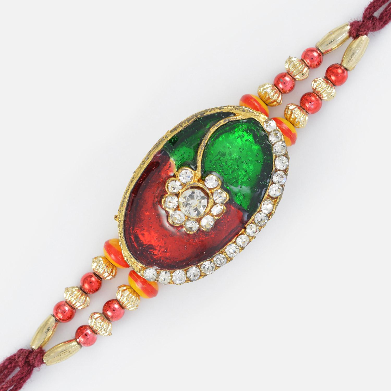 Splendid Multi-Designer Beads and Oval Shaped Diamond Fancy Rakhi