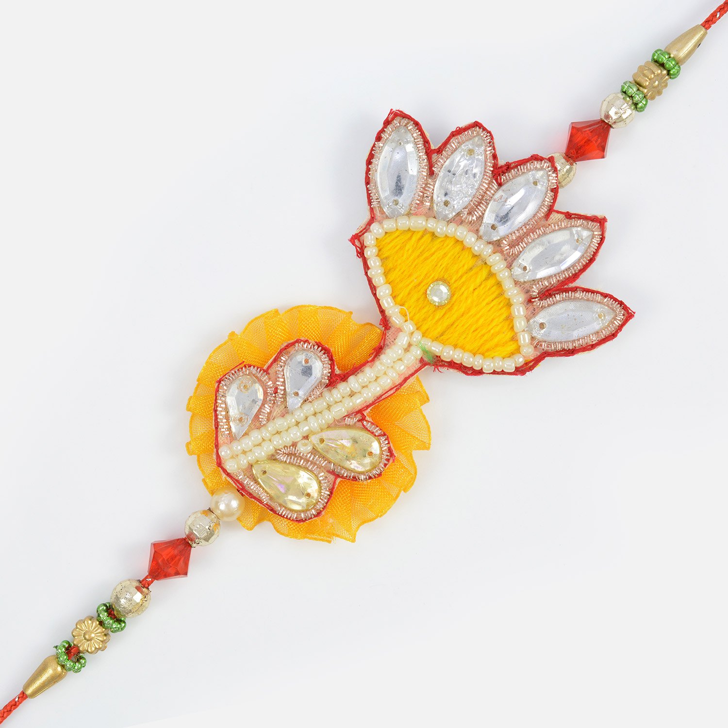 Vintage Work of Zardosi and Crystals with Red Golden Beads in Fancy Moli Rakhi