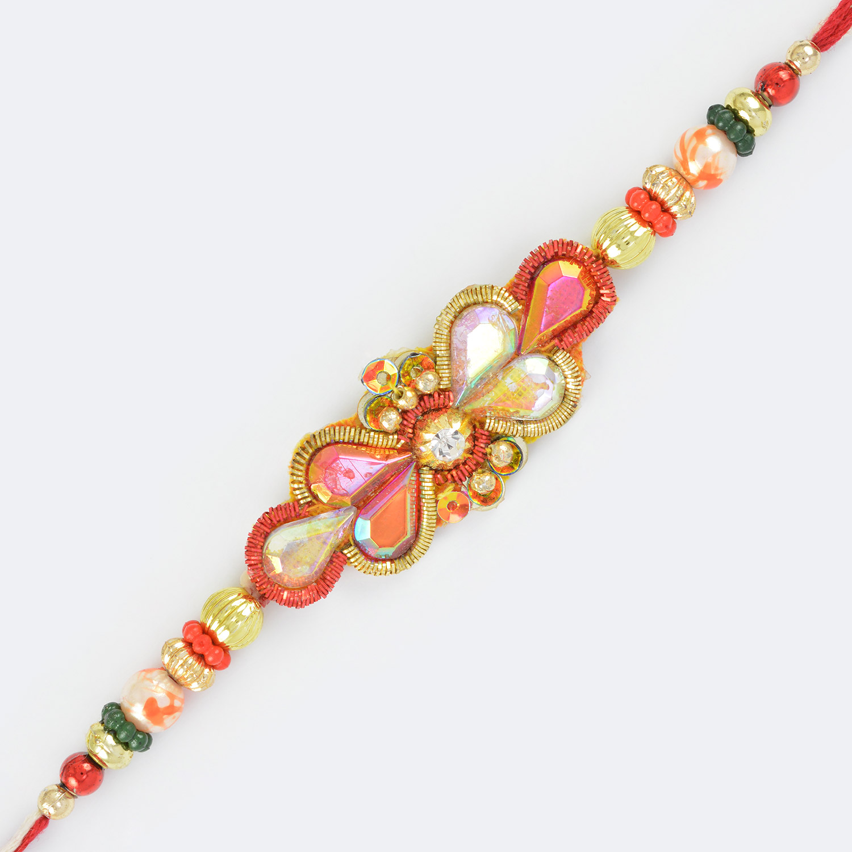 Zardozi Work Glass and Golden Elements Fancy Rakhi with Multi Beads