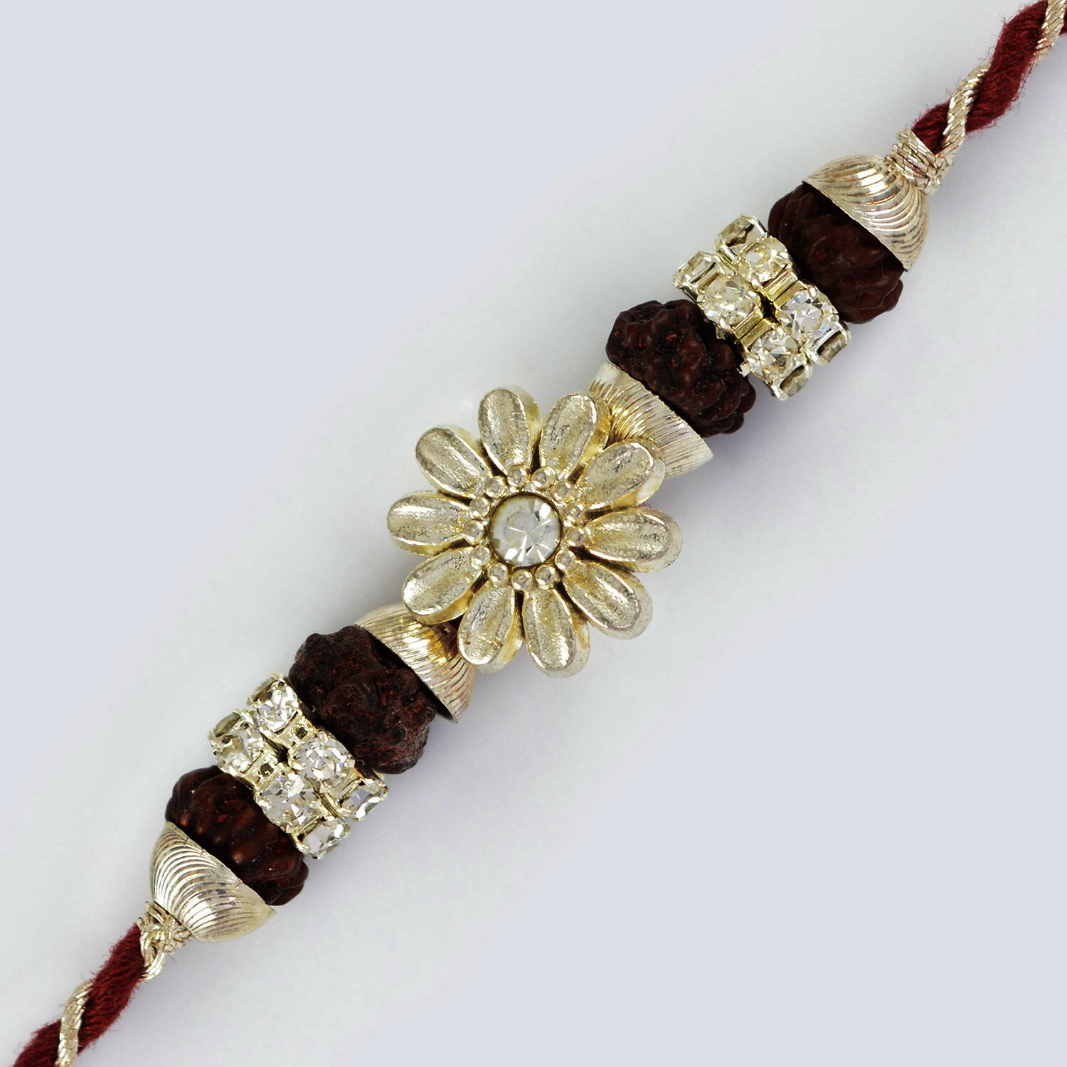 Fancy Look Floral Designer Rakhi with Diamonds and Rudraksh