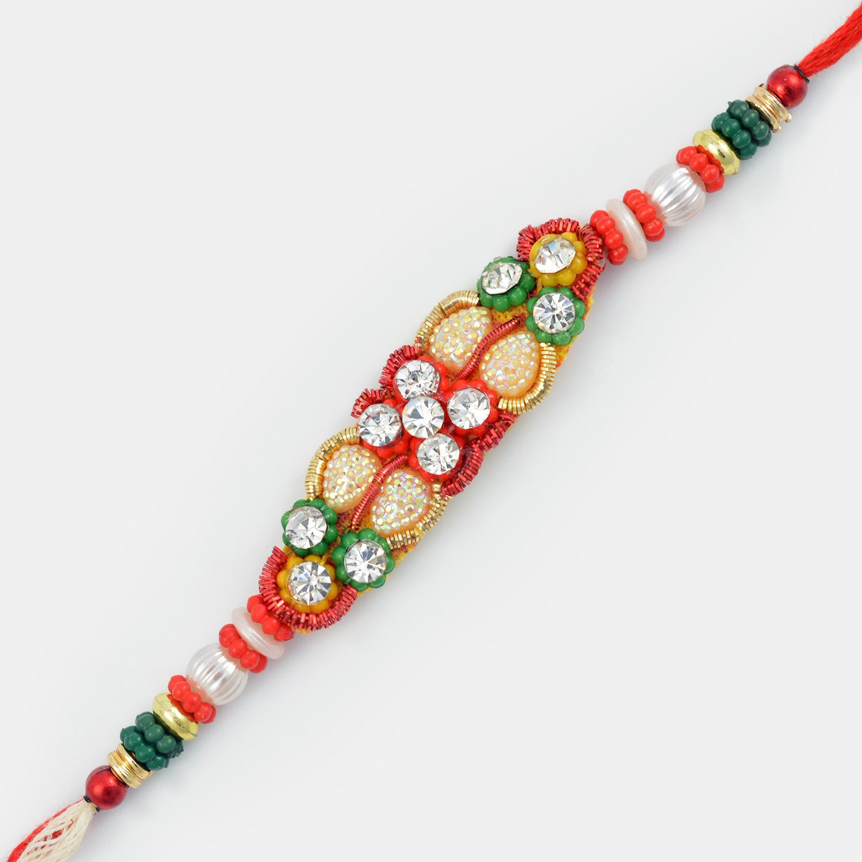 Beautiful Beads Fancy Diamond Rakhi for Brother