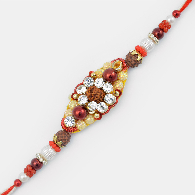 Rudraksh Special Diamond Mauli Zardosi Work Rakhi