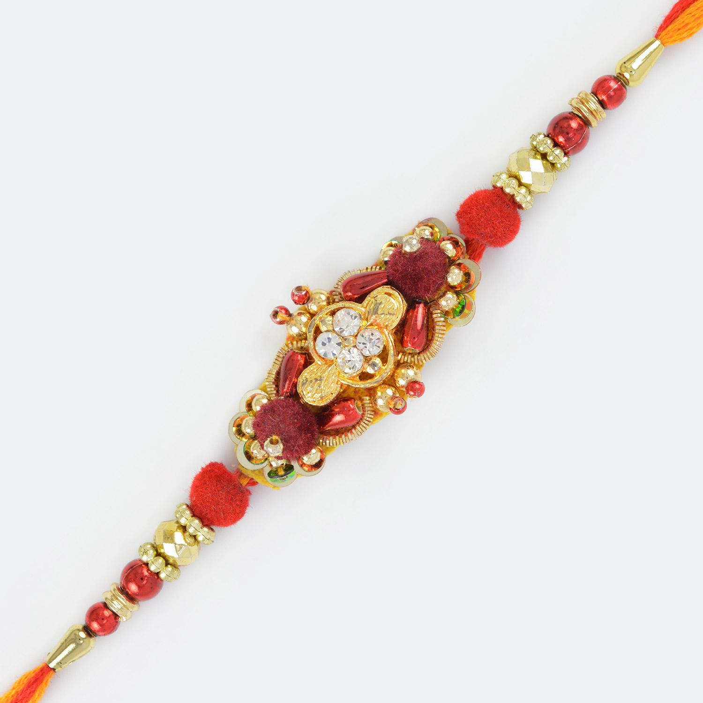 Miraculous Golden and Diamond Work Rakhi in Moli