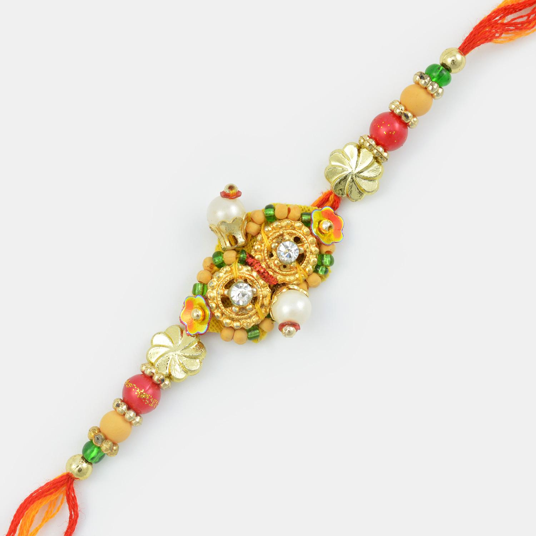 Stunning Golden Grace Fancy Mauli Strings Rakhi with Pearls