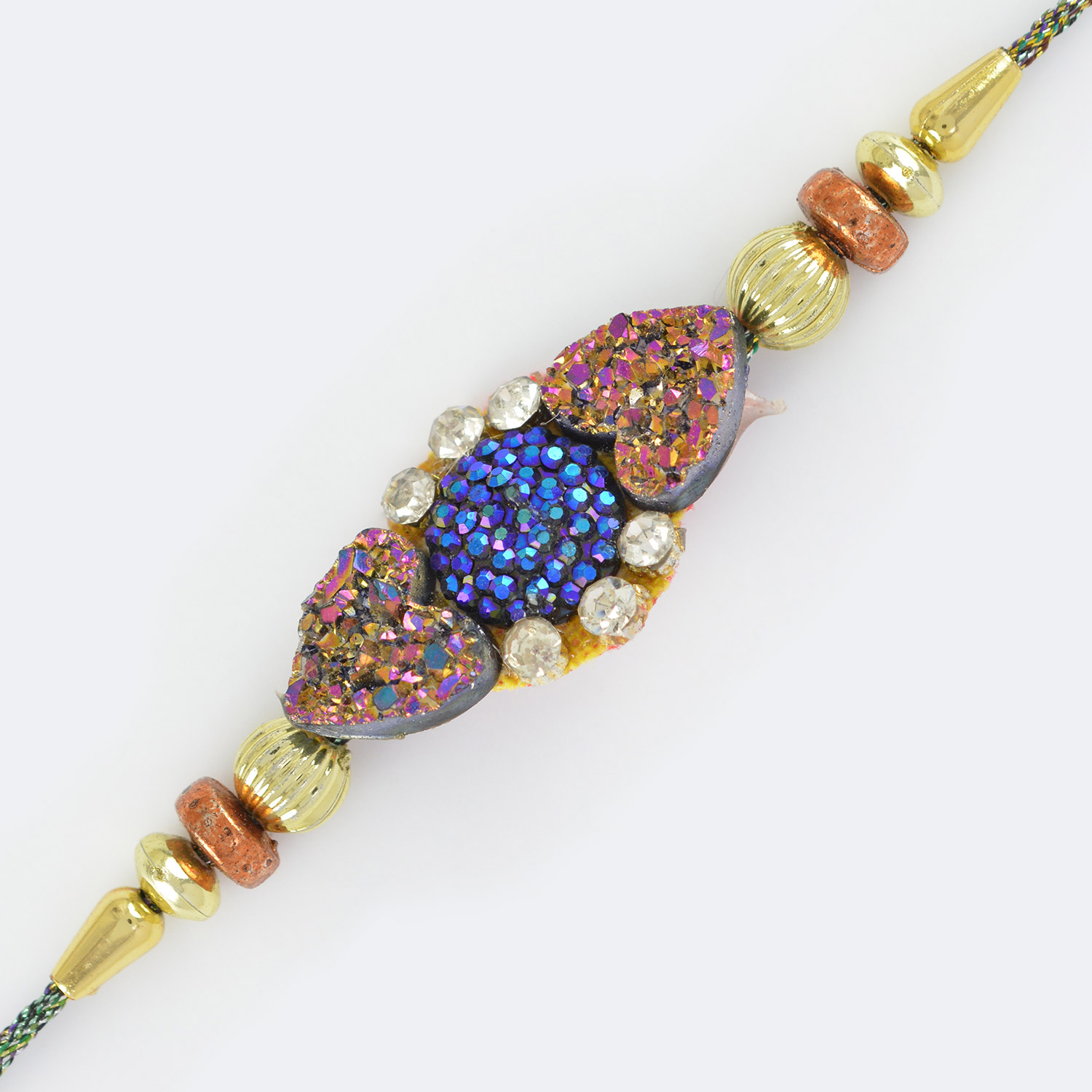 Germination of Colors- Patio with Diamonds and Golden Beads Rakhi