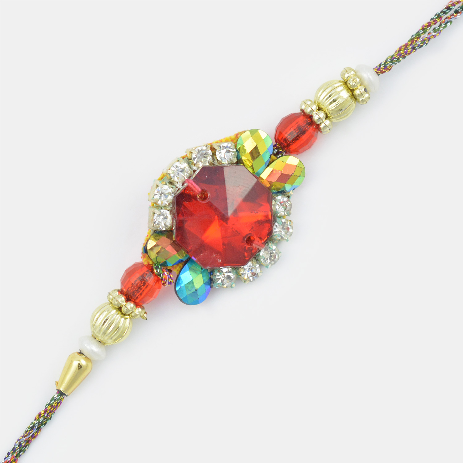 A Fine Creation with Red Stone- Golden Beads and Diamond Rakhi