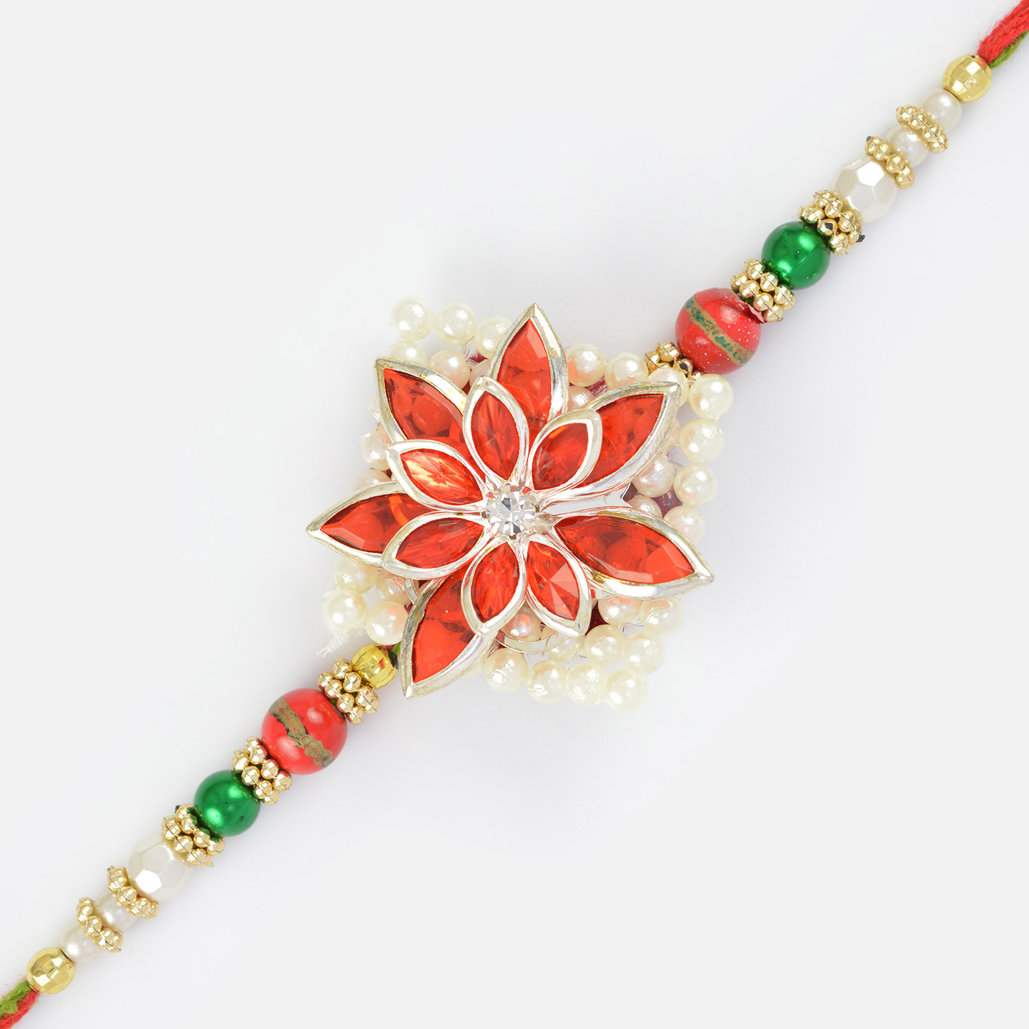 Natural Design of Flower with Red Crystals and Pearl Designer Fancy Rakhi