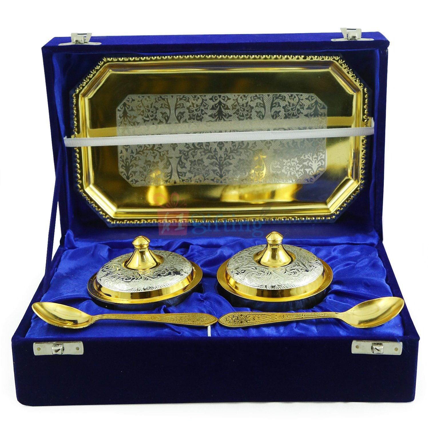 Royal Platter or Supari Dan Set Golden Silver Plated with Tray
