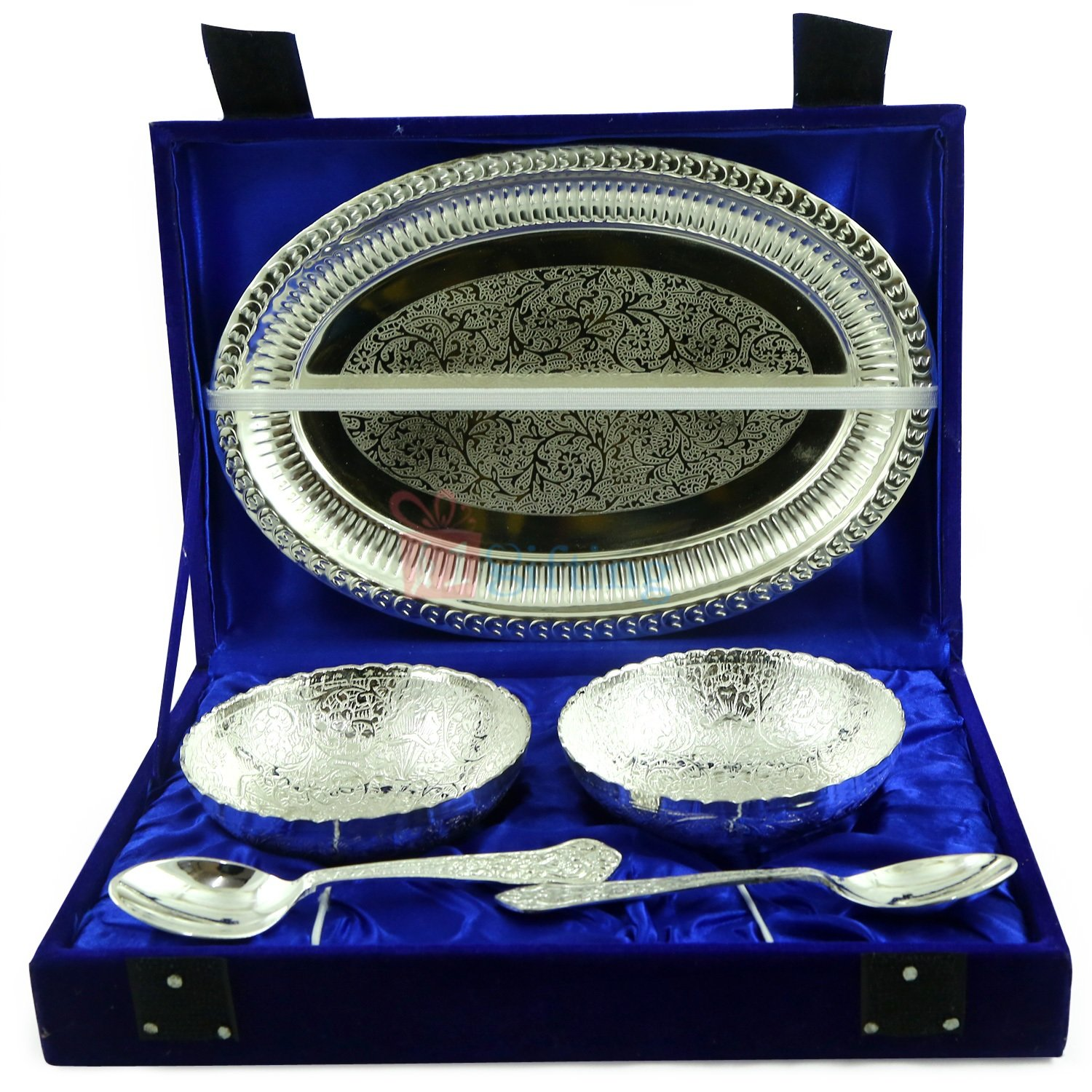 Brass Silver Bowl Pair with Oval Designer Tray and Spoons