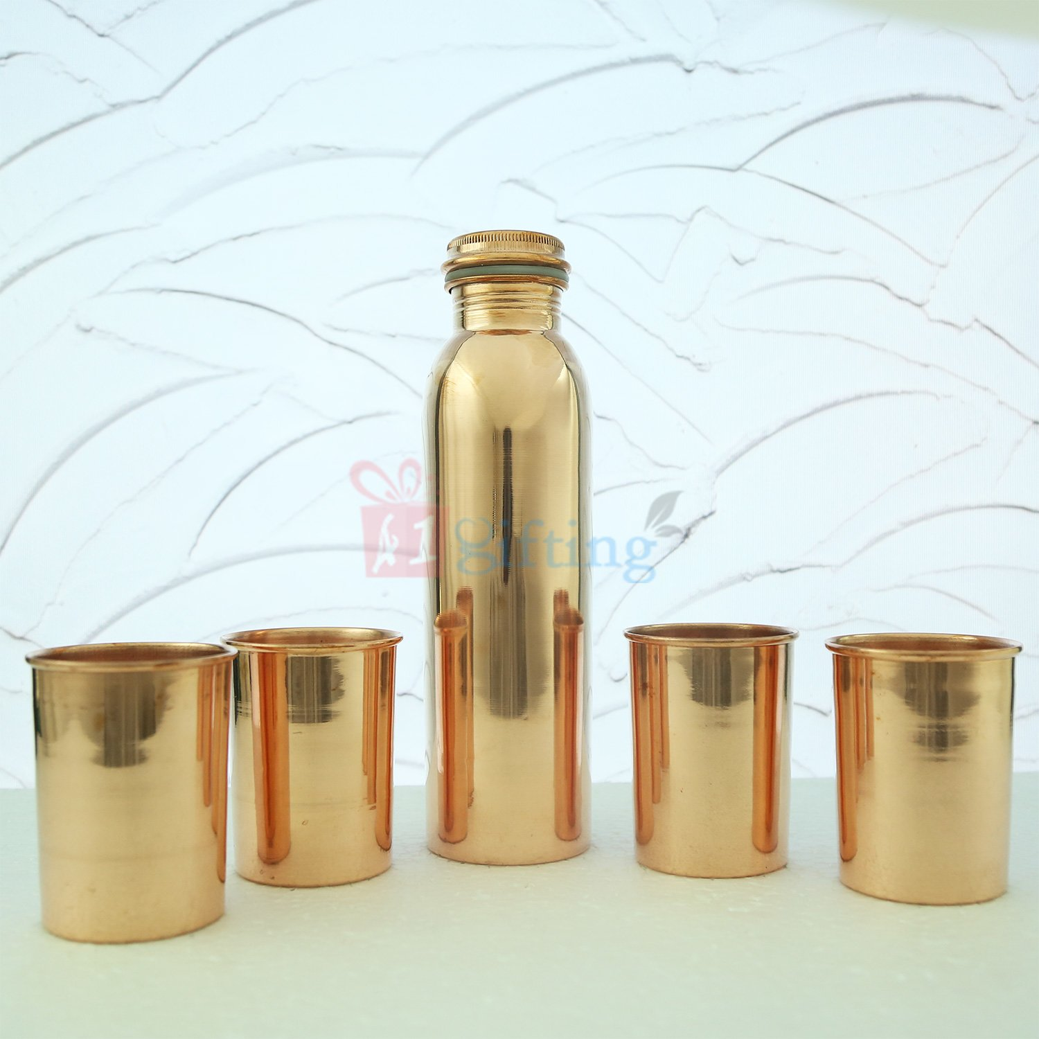 Super Pure Copper Water Bottle with Four Glasses