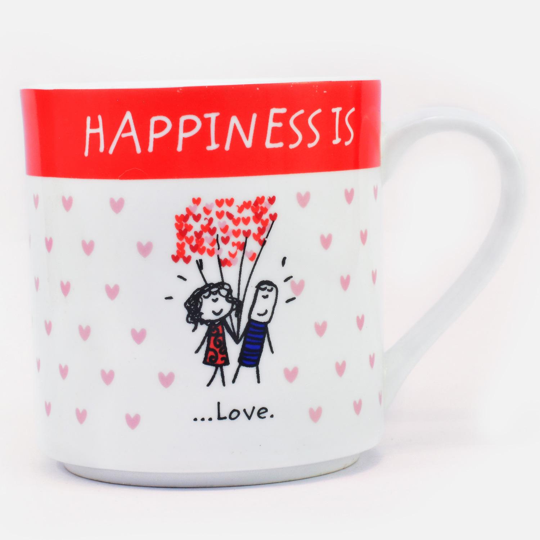 Happiness Love White Color Mug