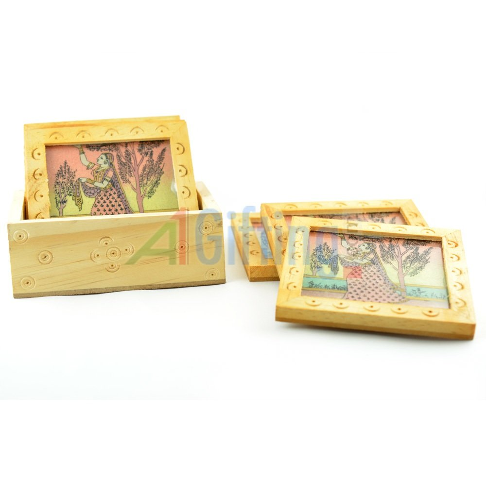 Handicraft 6 Pcs Tea Coaster Wooden Painted with Base Holder