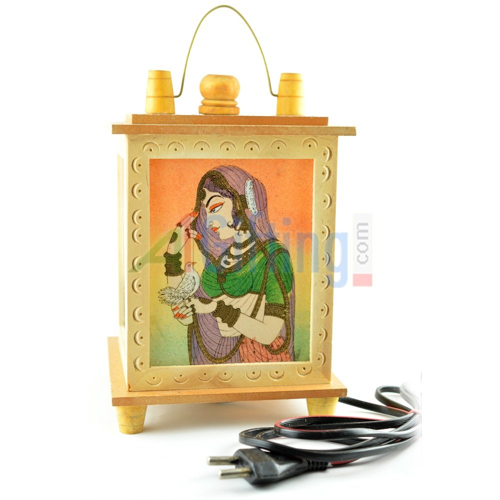 Handicraft Wooden Electric Lamp Decorative Item with Painting