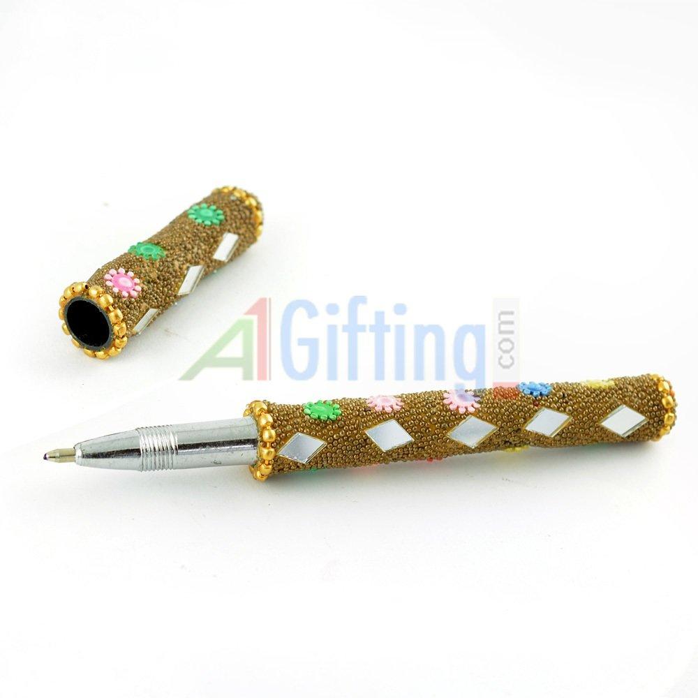 Handicraft Pen with Glass Handicraft Work