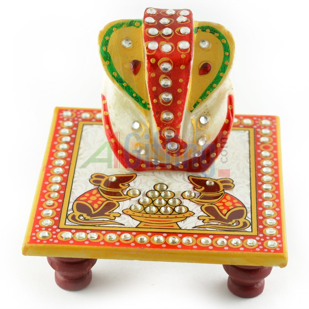 Beautiful Marble Handicraft Ganesha on Chouki