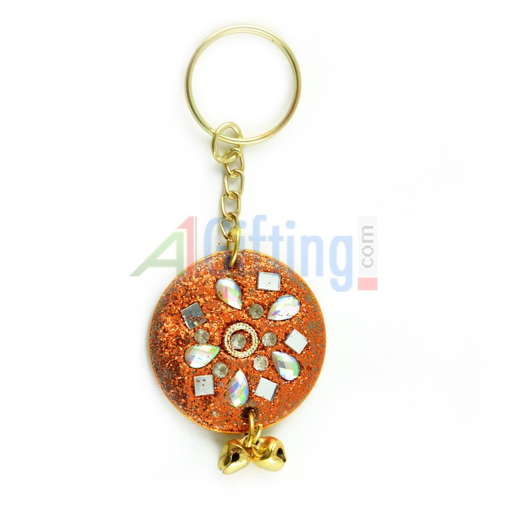 Lacquer Circular Key Chain Handicrafted