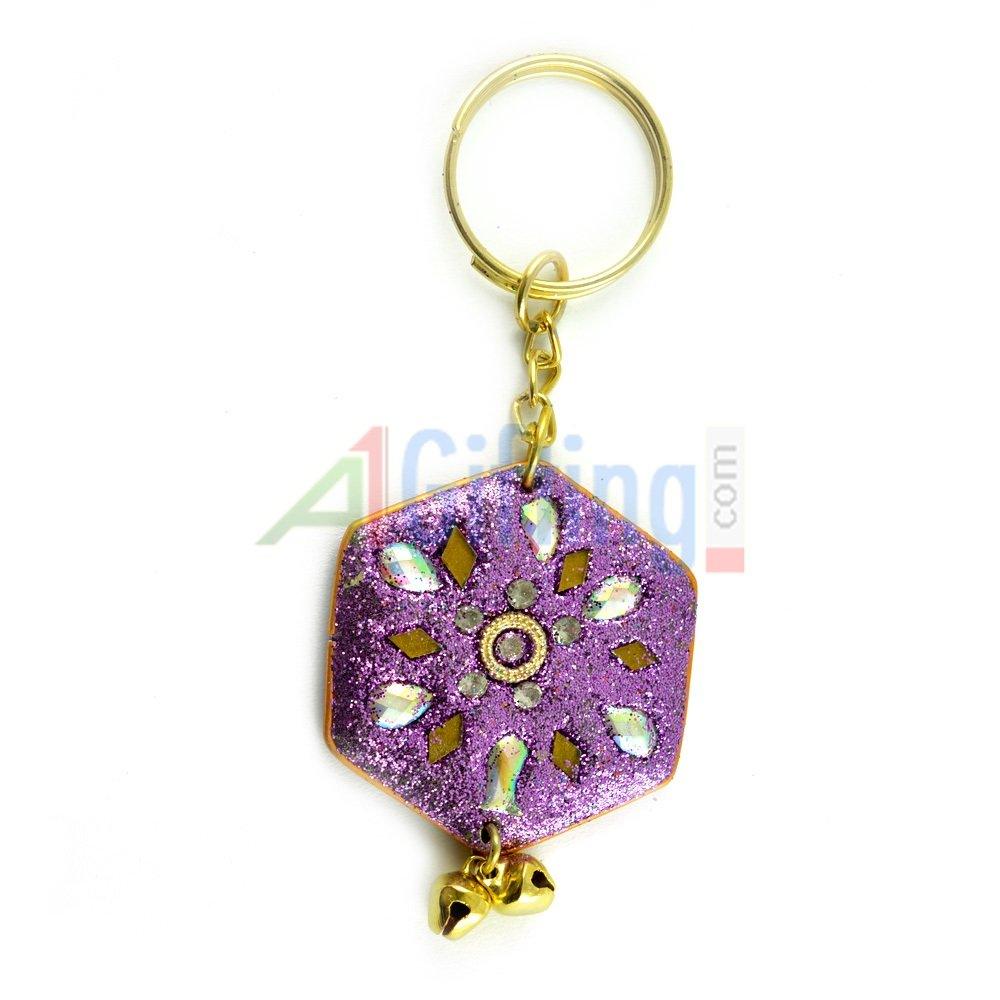Traditional Lacquer Keychain Pentagonal Shape
