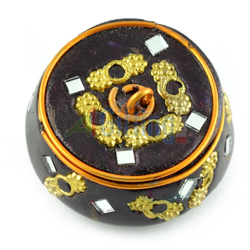 Lacquer Colored Sindoor Box Circular with Hand Crafted