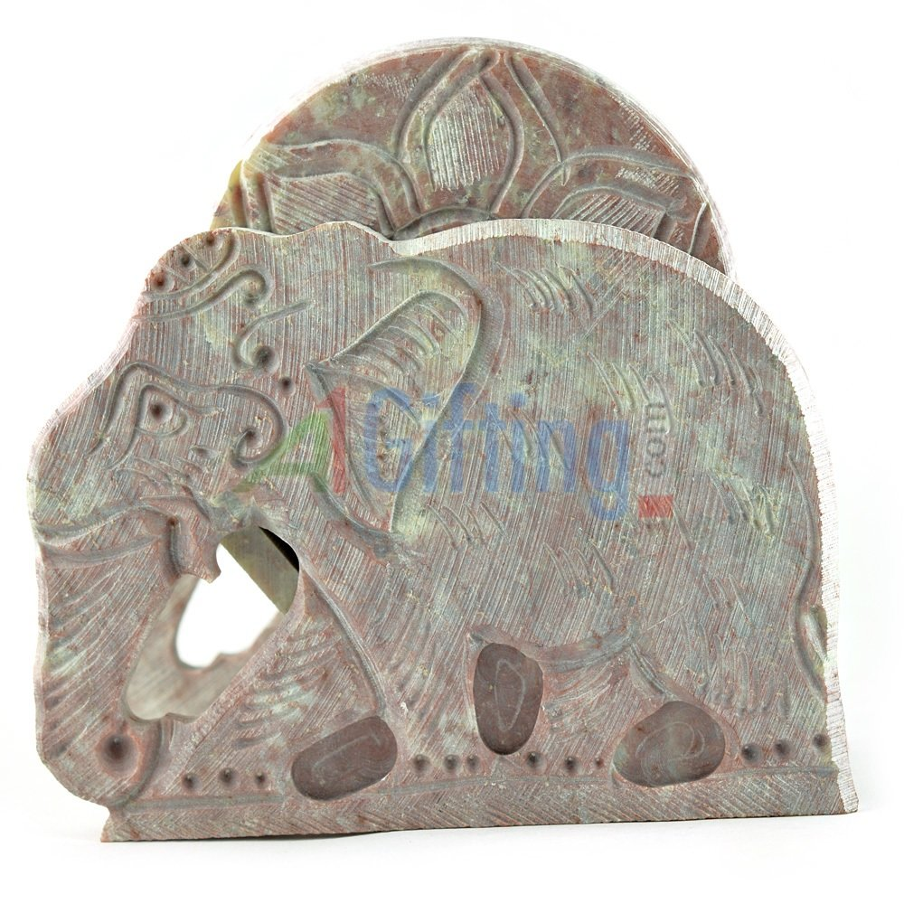 Red Stone Tea Coaster with Elephant Statue
