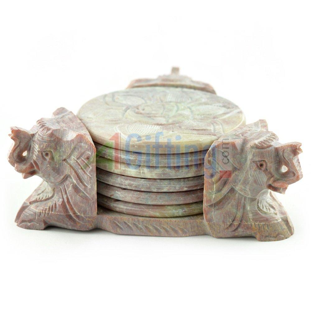 Stone Coaster with Elephant Face Handicraft Gift