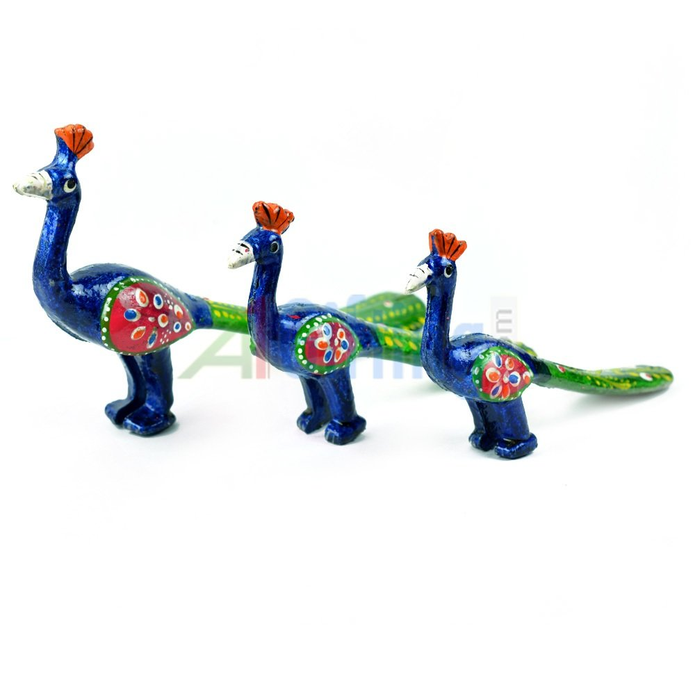 Colorful Handicraft Peacock Set of 3