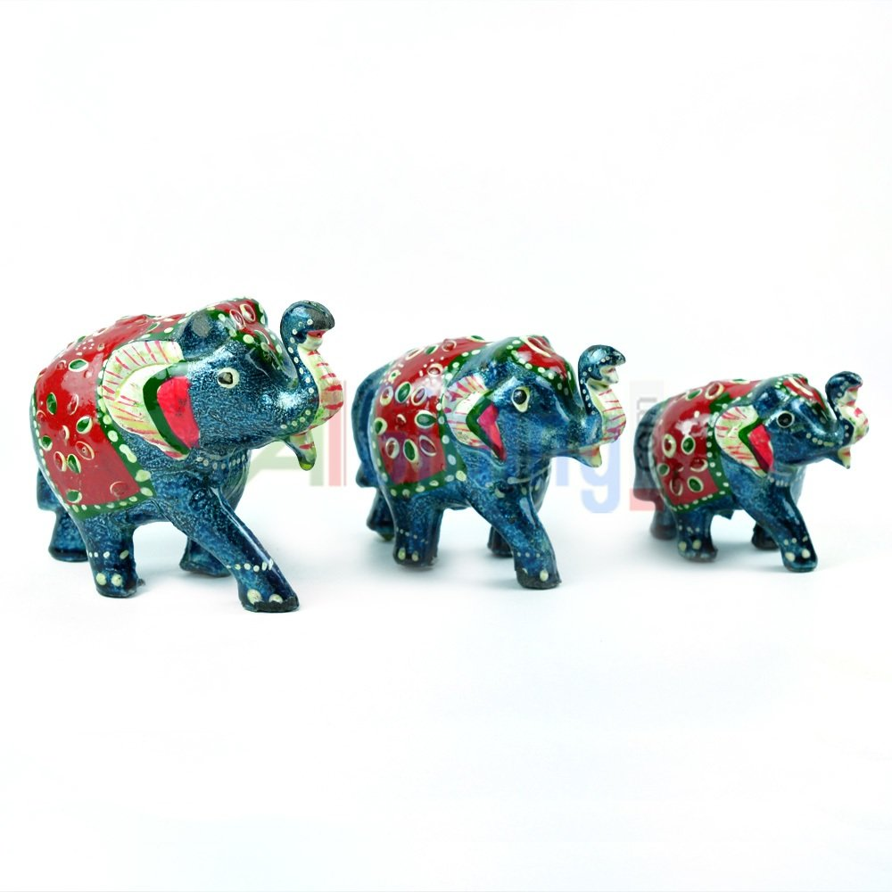 Handicraft Elephant Set of 3 Colorful