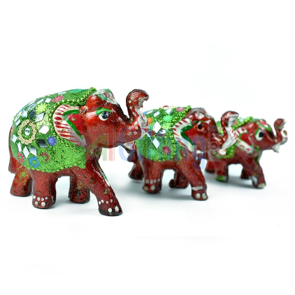 Lacquer worked Elephant Set of 3 Handicraft Elephants