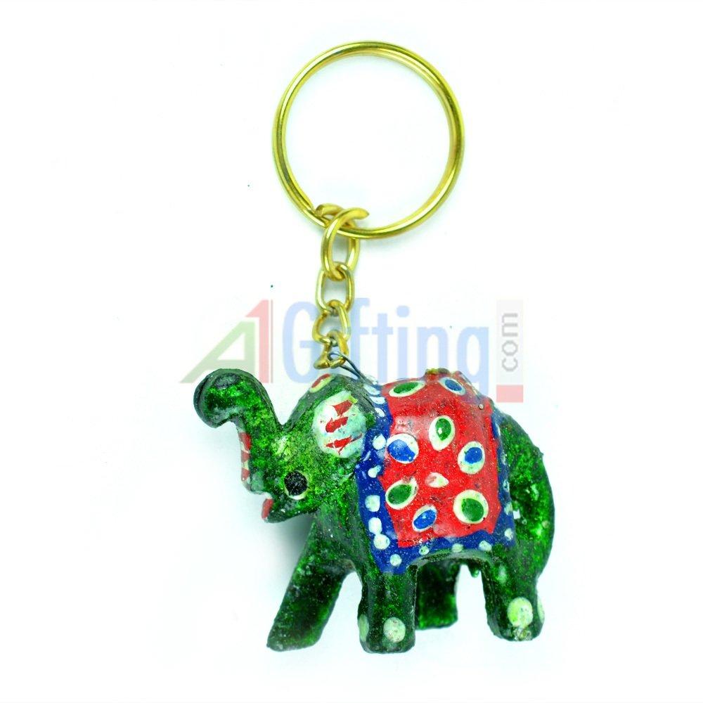 Lacquer Elephant Key Chain
